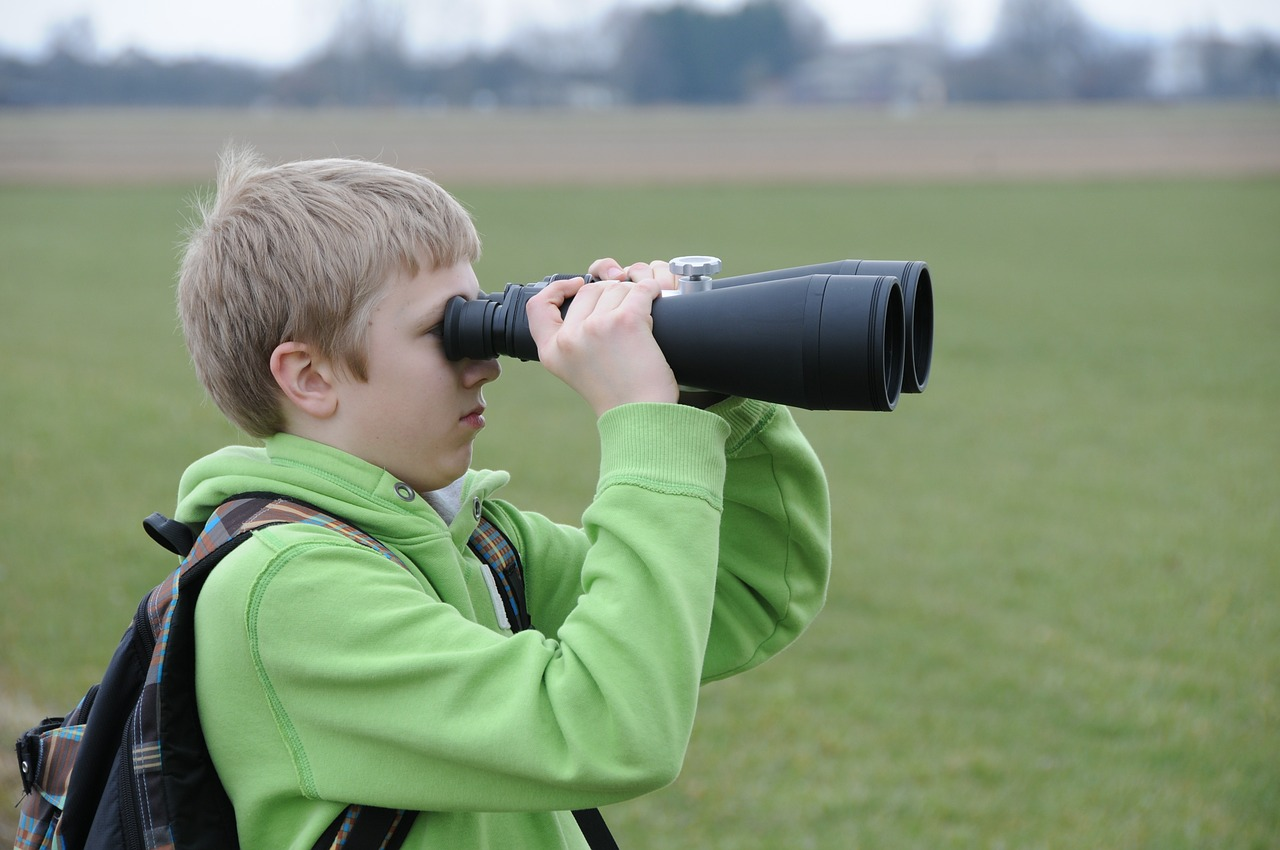 binoculars, researchers, young people